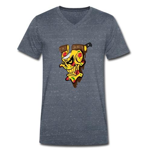 Pizza Schädel mit Messer - Männer Bio-T-Shirt mit V-Ausschnitt von Stanley & Stella