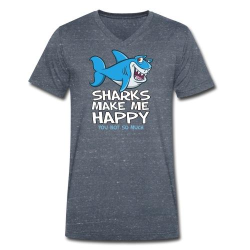 Sharks make me happy - Haifisch - Männer Bio-T-Shirt mit V-Ausschnitt von Stanley & Stella
