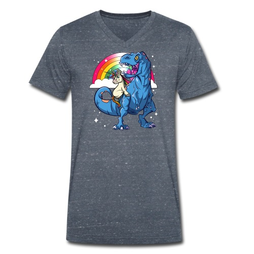 Dinosaurier mit Einhorn - Männer Bio-T-Shirt mit V-Ausschnitt von Stanley & Stella