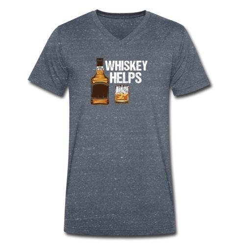 Whiskey helps - Alkohol - Männer Bio-T-Shirt mit V-Ausschnitt von Stanley & Stella