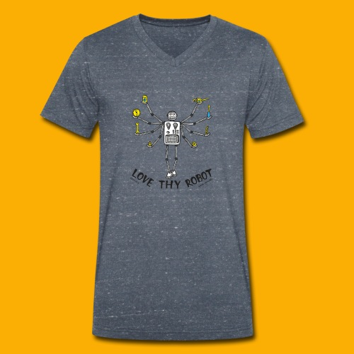 Dat Robot: Love Thy Robot shiva Light - Mannen bio T-shirt met V-hals van Stanley & Stella