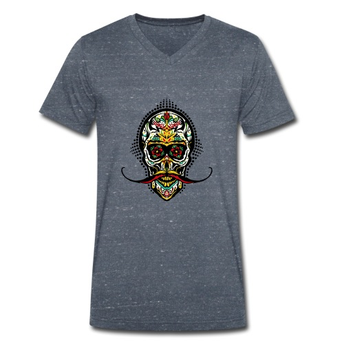 tete de mort mexicaine crane hipster skull moustac - T-shirt bio col V Stanley & Stella Homme