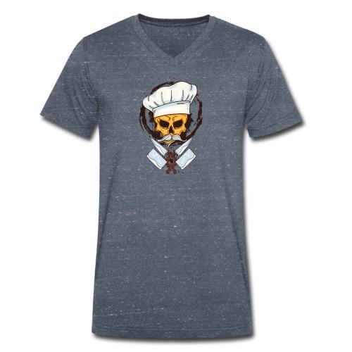 Chefkoch Totenkopf - Gekreuzte Messer - Männer Bio-T-Shirt mit V-Ausschnitt von Stanley & Stella