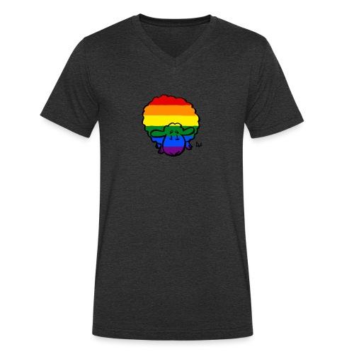 Rainbow Pride Sheep - Men's Organic V-Neck T-Shirt by Stanley & Stella