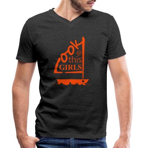 AndriesBik look thisGIRLS shirt witteletters - Mannen bio T-shirt met V-hals van Stanley & Stella