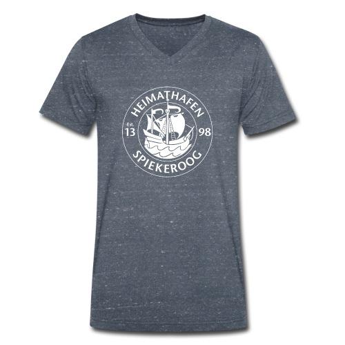 Heimathafen Logo Weiß - Männer Bio-T-Shirt mit V-Ausschnitt von Stanley & Stella