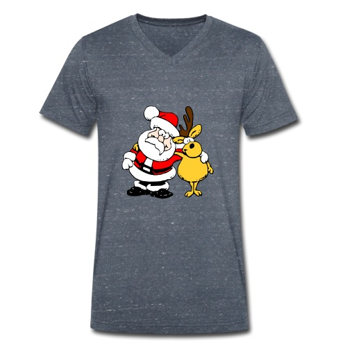 Santa and Reindeer - Men's Organic V-Neck T-Shirt by Stanley & Stella