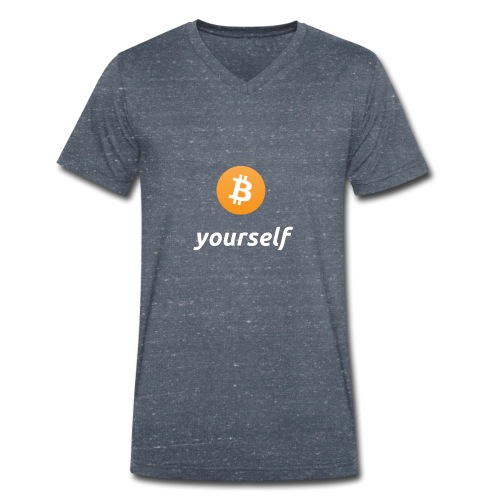 cryptocool b yourself white font -bitcoin logo - Mannen bio T-shirt met V-hals van Stanley & Stella