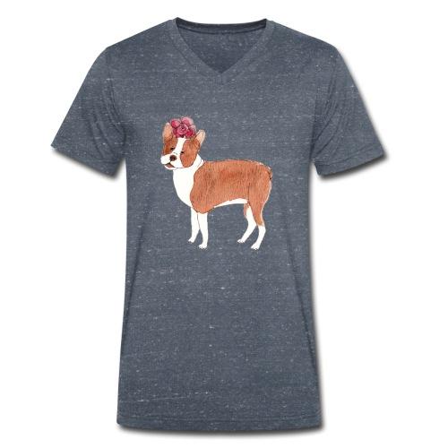 boston terrier with flower - Økologisk Stanley & Stella T-shirt med V-udskæring til herrer