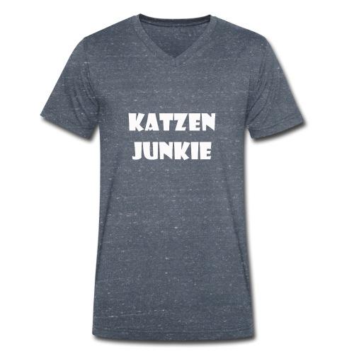Katzen Junkie 2 - Männer Bio-T-Shirt mit V-Ausschnitt von Stanley & Stella