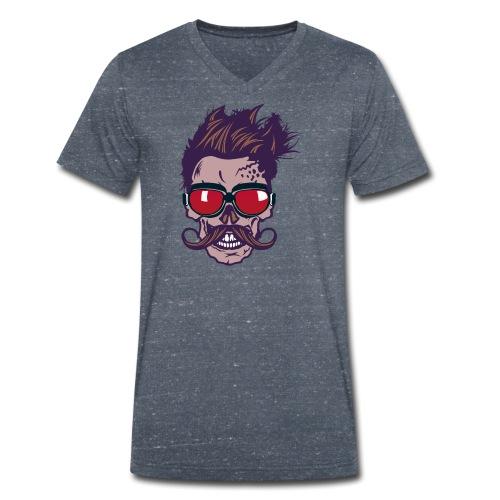 tete de mort hipster skull crane moustache lunette - T-shirt bio col V Stanley & Stella Homme