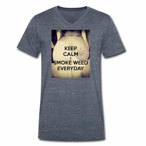 Keep Calm & Smoke Weed Everyday - Ekologiczna koszulka męska z dekoltem w serek Stanley & Stella