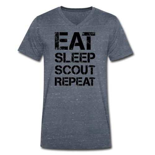 EAT SLEEP SCOUT REPEAT Kreide - Farbe frei wählbar - Männer Bio-T-Shirt mit V-Ausschnitt von Stanley & Stella