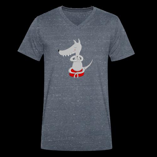 Wolf in tiefer Meditation - Männer Bio-T-Shirt mit V-Ausschnitt von Stanley & Stella