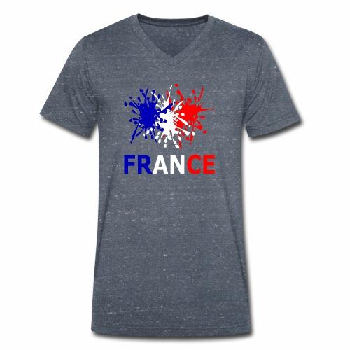 France - red white blue - Men's Organic V-Neck T-Shirt by Stanley & Stella