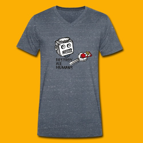 Dat Robot: Destroy Series Smoking Light - Mannen bio T-shirt met V-hals van Stanley & Stella