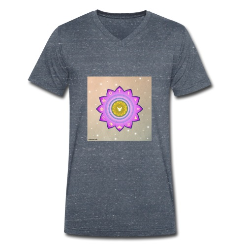 0 1 Dove Surrounded by Religious Symbols. - Men's Organic V-Neck T-Shirt by Stanley & Stella