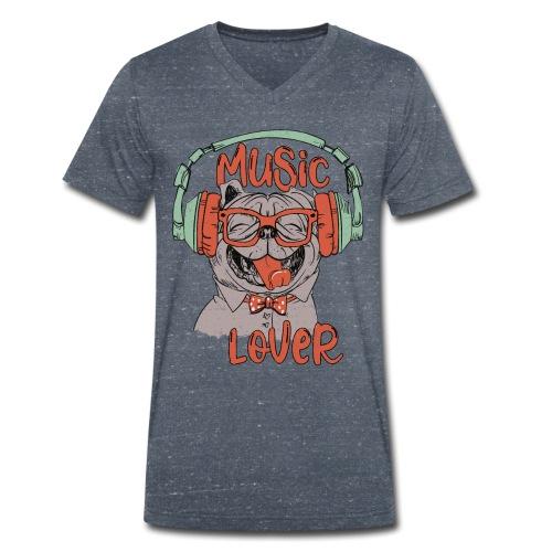 Music Lover - Happy Pug Dog Head Vintage style - Men's Organic V-Neck T-Shirt by Stanley & Stella