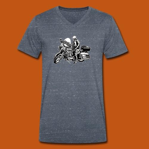 Motorradpolizei / Motorcycle Police 1_schwarz weiß - Männer Bio-T-Shirt mit V-Ausschnitt von Stanley & Stella