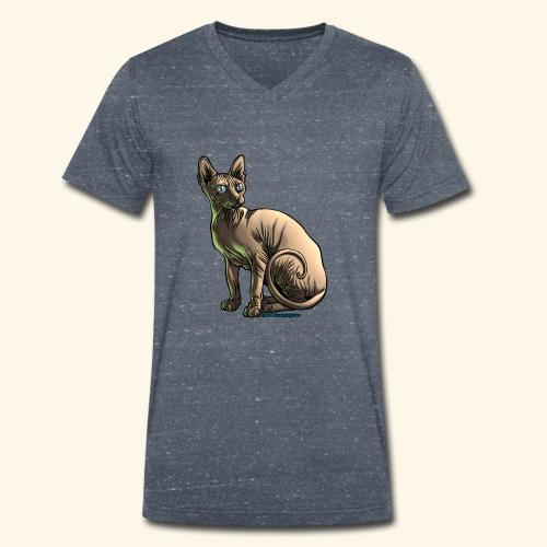 sushi the sphynx cat - T-shirt ecologica da uomo con scollo a V di Stanley & Stella