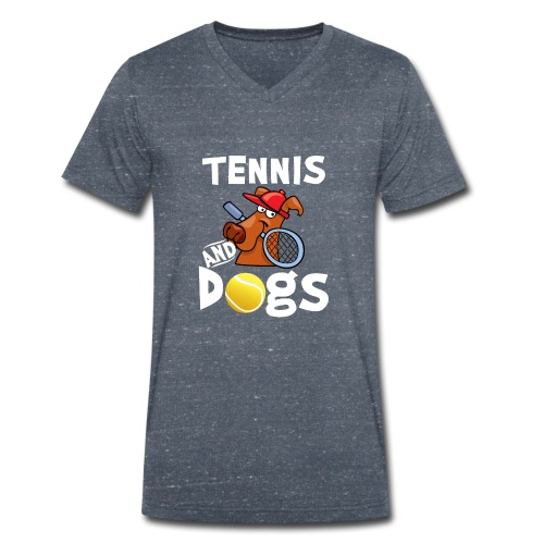 Tennis And Dogs Funny Sports Pets Animals Love - Männer Bio-T-Shirt mit V-Ausschnitt von Stanley & Stella