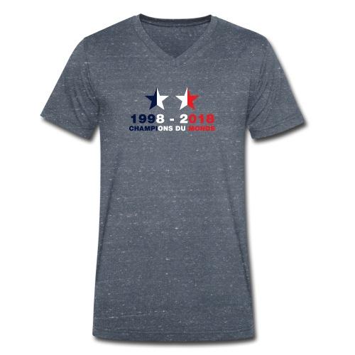 France - Champions du monde - 1998-2018 - T-shirt bio col V Stanley & Stella Homme