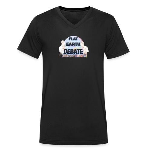 Flat Earth Debate Cartoon - Men's Organic V-Neck T-Shirt by Stanley & Stella