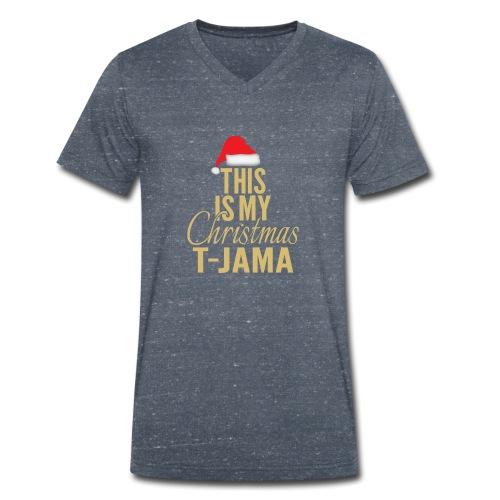 This is my christmas t jama gold 01 - Økologisk T-skjorte med V-hals for menn fra Stanley & Stella