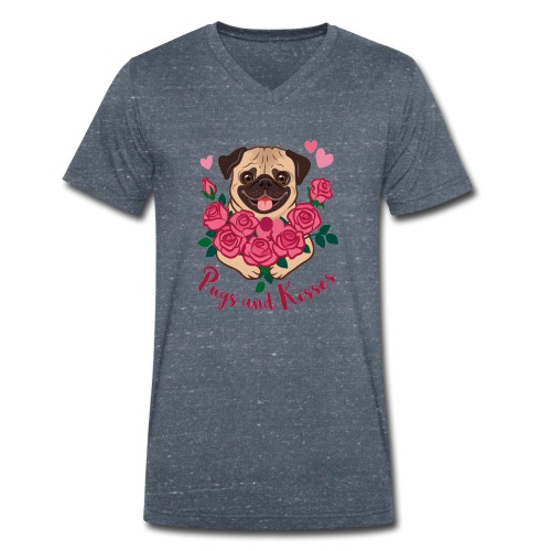 Mops und Küsse | Pugs and kisses - Männer Bio-T-Shirt mit V-Ausschnitt von Stanley & Stella