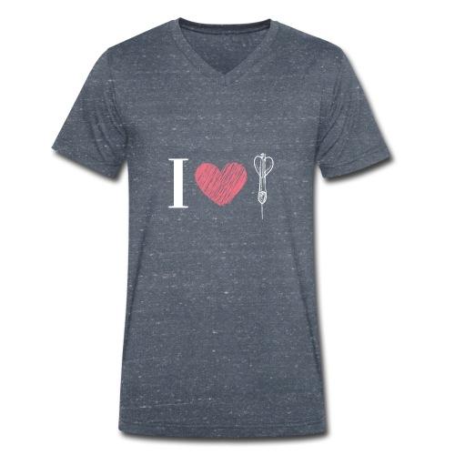 Ich liebe Dart I heart dart weiß - Männer Bio-T-Shirt mit V-Ausschnitt von Stanley & Stella