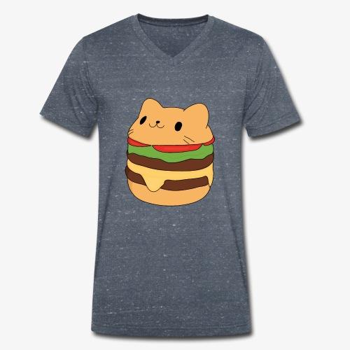 cat burger - Men's Organic V-Neck T-Shirt by Stanley & Stella