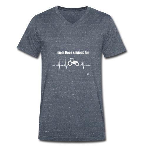 Mein Herz schlägt für Traktoren - Männer Bio-T-Shirt mit V-Ausschnitt von Stanley & Stella