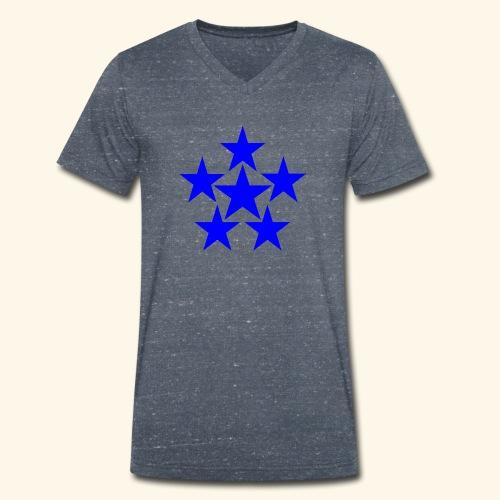 5 STAR blau - Männer Bio-T-Shirt mit V-Ausschnitt von Stanley & Stella