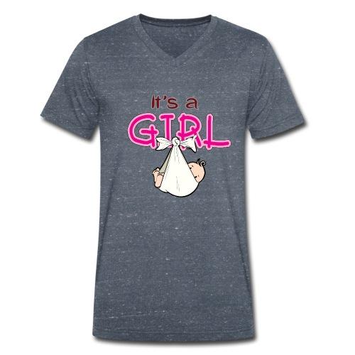 Babyshower It's a Girl - Mannen bio T-shirt met V-hals van Stanley & Stella