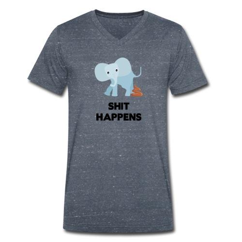olifant met drol shit happens poep schaamte - Mannen bio T-shirt met V-hals van Stanley & Stella