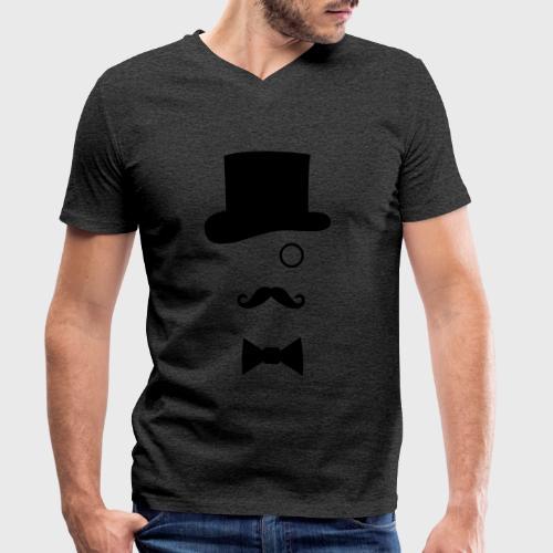 Chapeau Monocle Moustaches Nœud papillon - T-shirt bio col V Stanley & Stella Homme