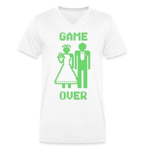 Game Over Old Skool groen - Mannen bio T-shirt met V-hals van Stanley & Stella