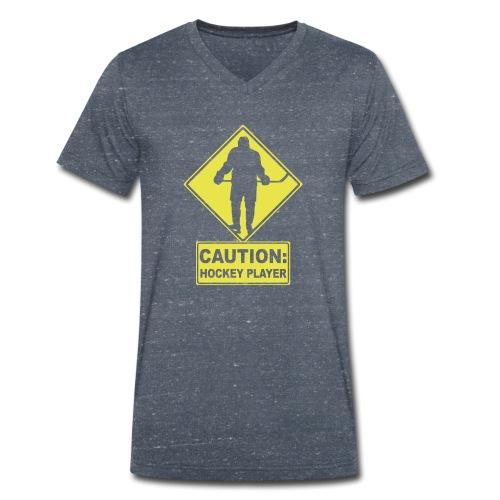 CAUTION: Hockey Player - Men's Organic V-Neck T-Shirt by Stanley & Stella