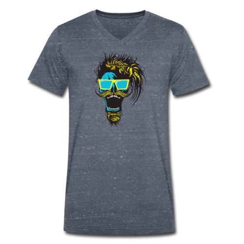 tete de mort hipster crane skull moustache barbe b - T-shirt bio col V Stanley & Stella Homme