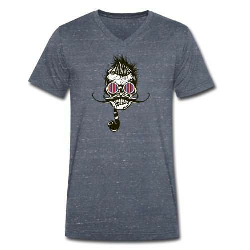tete de mort hipster pipe crane skull coiffure pun - T-shirt bio col V Stanley & Stella Homme