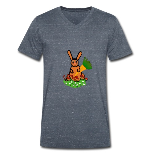 Rabbit with carrot - Men's Organic V-Neck T-Shirt by Stanley & Stella