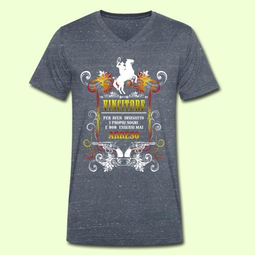disegno linea Vincitore - T-shirt ecologica da uomo con scollo a V di Stanley & Stella