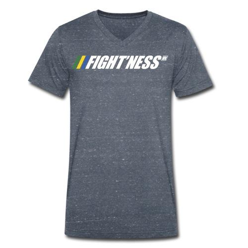 Logo FIGHT NESS Blanc - T-shirt bio col V Stanley & Stella Homme