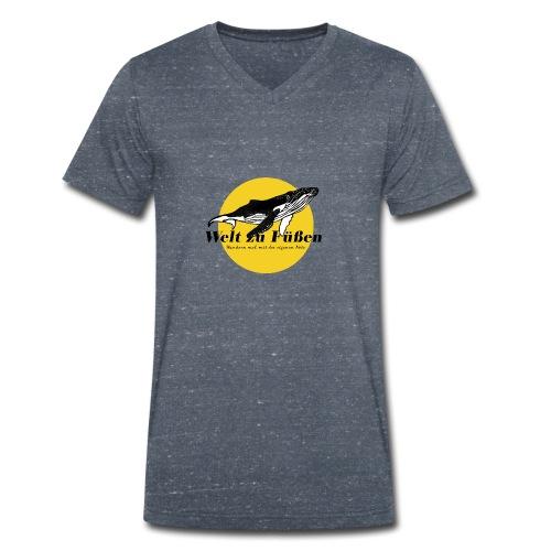 Welt zu Füßen Logo - Männer Bio-T-Shirt mit V-Ausschnitt von Stanley & Stella