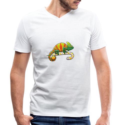Christmas Chameleon on a Candy Cane - Men's Organic V-Neck T-Shirt by Stanley & Stella