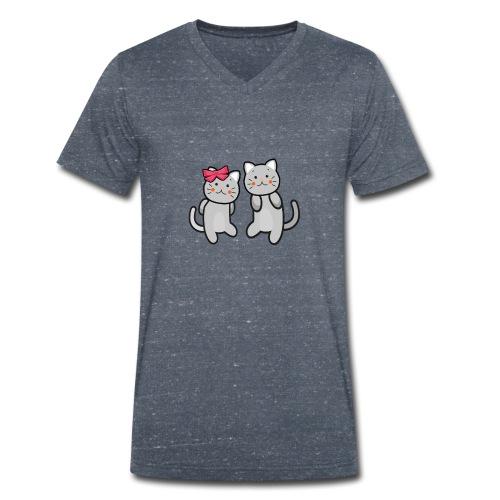 Kotki - Ekologiczna koszulka męska z dekoltem w serek Stanley & Stella