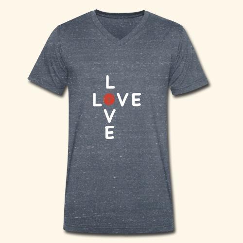 LOVE Cross white wuerfel red 001 - Männer Bio-T-Shirt mit V-Ausschnitt von Stanley & Stella