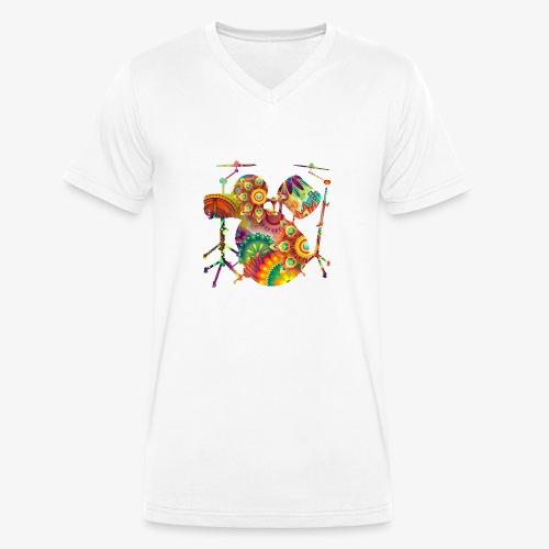 psychedelisches Schattenbild Schlagzeug - Männer Bio-T-Shirt mit V-Ausschnitt von Stanley & Stella
