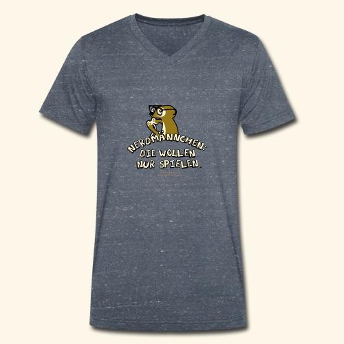 T-Shirt Nerdmännchen Erdmännchen für Geeks & Nerds - Männer Bio-T-Shirt mit V-Ausschnitt von Stanley & Stella