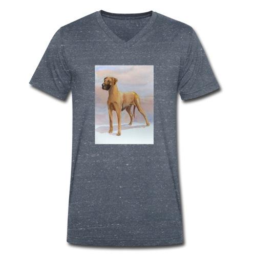 Great Dane Yellow - Økologisk Stanley & Stella T-shirt med V-udskæring til herrer